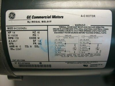 New ge commercial motor c366 5kc32gn25j regal beloit for Ge commercial motors 5kcp39fg