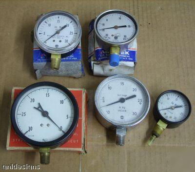 New 5PC lot & used vacuum gauges ashcroft ametek usg